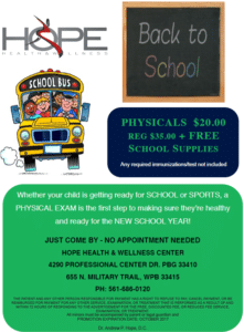 Back to school flyer physicals